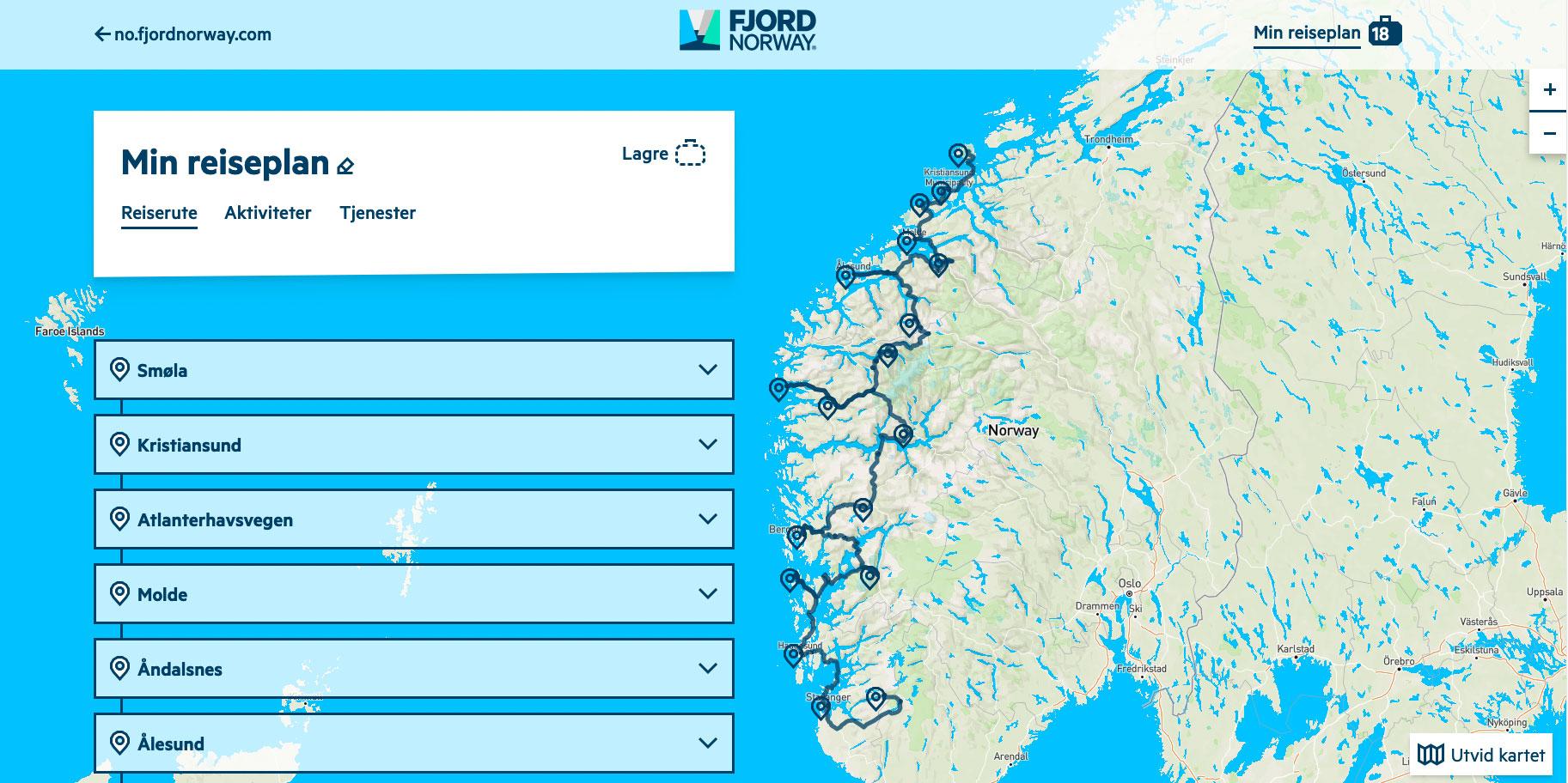 Reiseplanleggeren gjør det enkelt å planlegge ferien i hele Fjord Norge